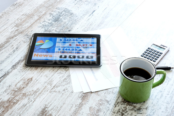 Stock market trading app on a Tablet PC Stock photo © Spectral