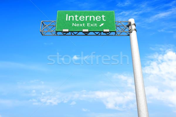 Signe de route internet 3D rendu illustration prochaine Photo stock © Spectral