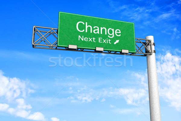 Stock photo: Highway Sign - Change