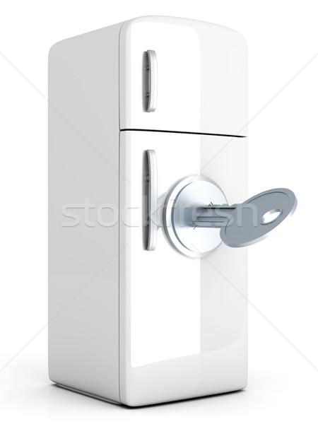 заблокированный холодильник классический 3D оказанный иллюстрация Сток-фото © Spectral