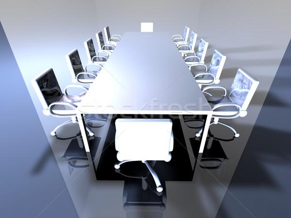 Metaal 3D gerenderd boardroom Stockfoto © Spectral