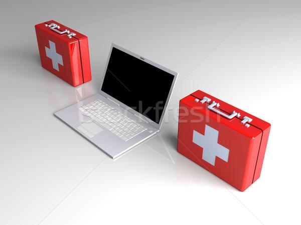 Laptop eerste hulp 3D gerenderd illustratie toetsenbord Stockfoto © Spectral