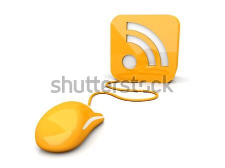 Rss kliknij ilustracja Internetu myszą wiadomości Zdjęcia stock © Spectral