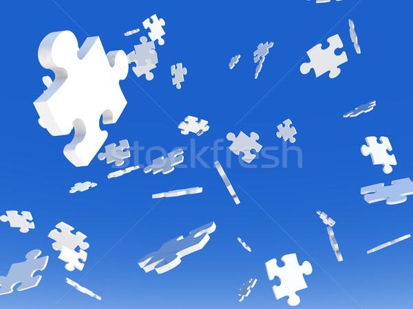 Objętych puzzle 3d ilustracji niebieski puzzle Chmura Zdjęcia stock © Spectral