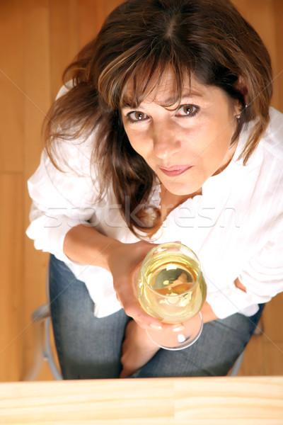 Mulher vinho belo mulher madura vidro vinho branco Foto stock © Spectral