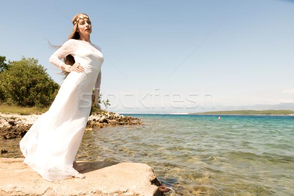 Fata Ocean giovani bella donna piedi estate Foto d'archivio © Spectral