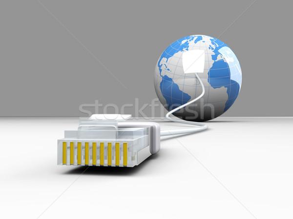 Dünya 3D render örnek kablo Internet Stok fotoğraf © Spectral