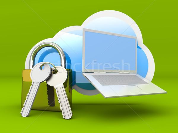 Foto stock: Segura · portátil · nube · 3D · prestados