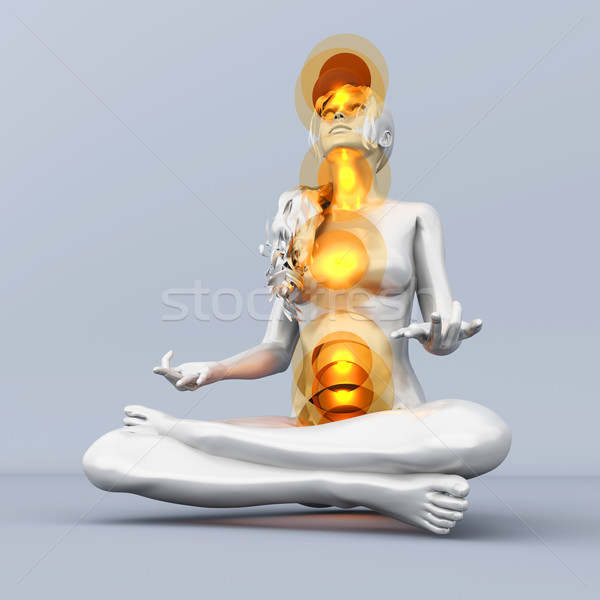 Csakra meditáció nő előad tele 3D Stock fotó © Spectral