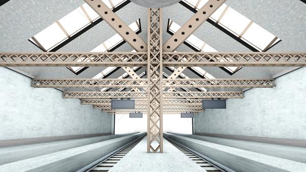 Antigo estação de trem 3D prestados interior cidade Foto stock © Spectral