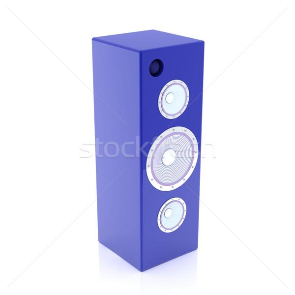 Kék hifi hangszóró 3d illusztráció izolált fehér Stock fotó © Spectral