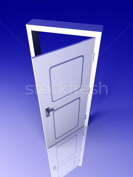 Otwartych drzwi drzwi otwarte 3D świadczonych ilustracja Zdjęcia stock © Spectral