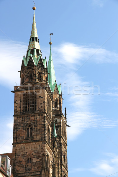 Tower of the Cathedral St. Lorenz of Nuremberg Stock photo © Spectral