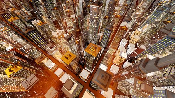 Zachód słońca duży miasta miejskich architektury Zdjęcia stock © Spectral