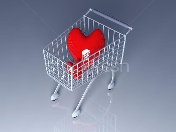 Shopping amore 3D reso illustrazione cuore Foto d'archivio © Spectral