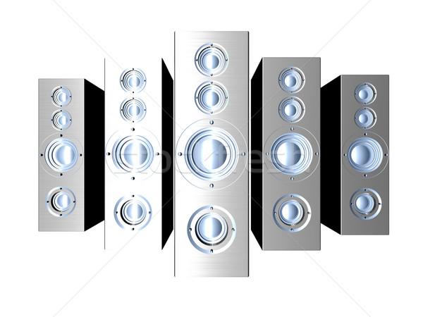 Hangfalak futurisztikus fém hatalmas hifi 3d illusztráció Stock fotó © Spectral