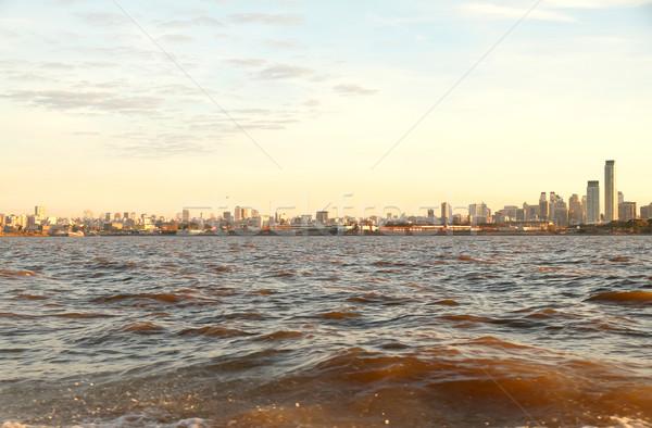 Stock fotó: Sziluett · Buenos · Aires · Argentína · kilátás · Rio · LA