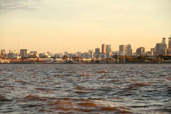 Sziluett Buenos Aires Argentína kilátás Rio LA Stock fotó © Spectral