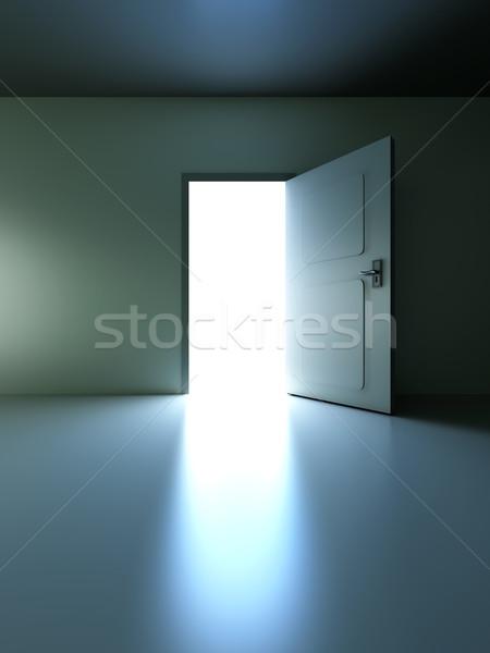 Open deur lege kamer 3D gerenderd illustratie muur Stockfoto © Spectral