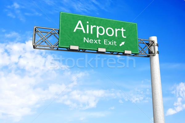 шоссе знак аэропорту 3D оказанный иллюстрация следующий Сток-фото © Spectral