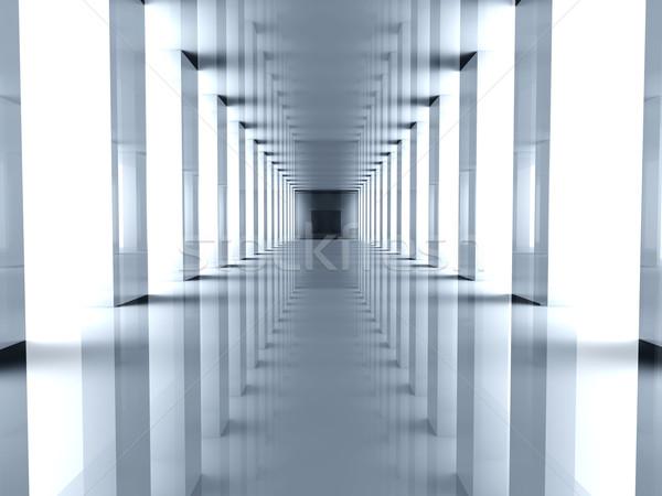 Koridor 3d illustration Bina iç mimari beton Stok fotoğraf © Spectral
