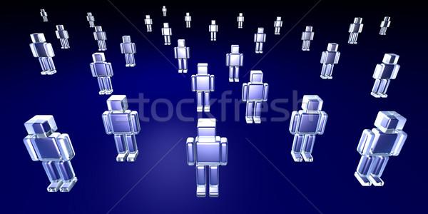 Közönség szélesvásznú 3d illusztráció tömeg kék digitális Stock fotó © Spectral