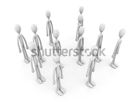 Anonimowy tłum 3d ilustracji odizolowany biały zespołu Zdjęcia stock © Spectral
