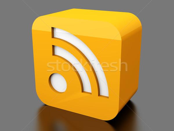 Rss symbool 3D gerenderd illustratie internet Stockfoto © Spectral