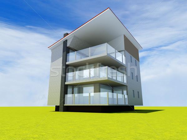 Modern bina 3D render örnek ev dizayn Stok fotoğraf © Spectral