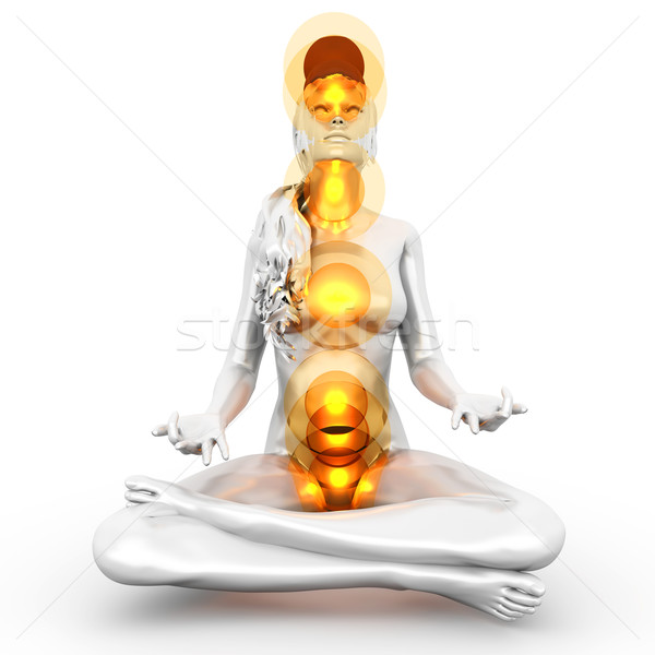 Photo stock: Chakra · méditation · femme · plein · 3D