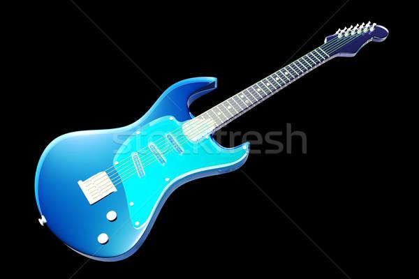 átlátszó gitár klasszikus elektromos gitár 3d illusztráció üveg Stock fotó © Spectral