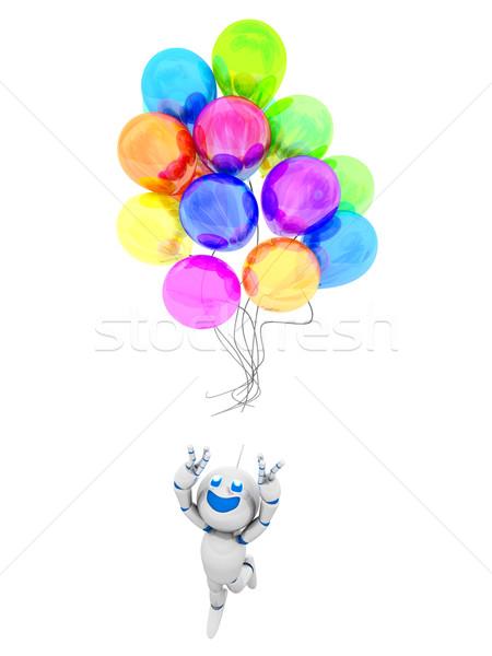 Karikatür robot balonlar mutlu 3D Stok fotoğraf © Spectral