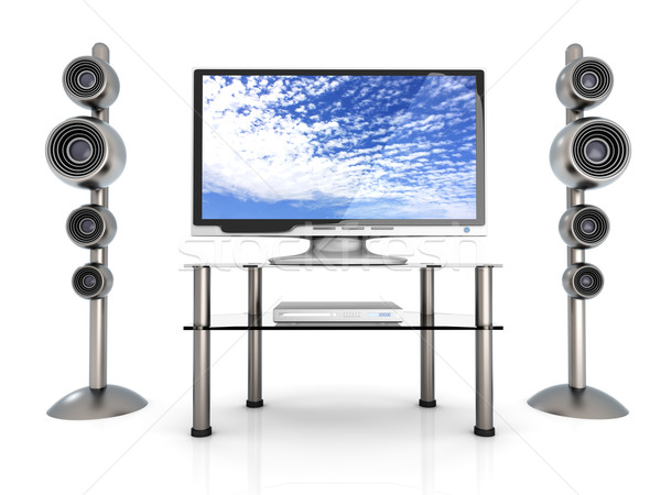 Home entertainment 3D prestados ilustração nuvens televisão Foto stock © Spectral