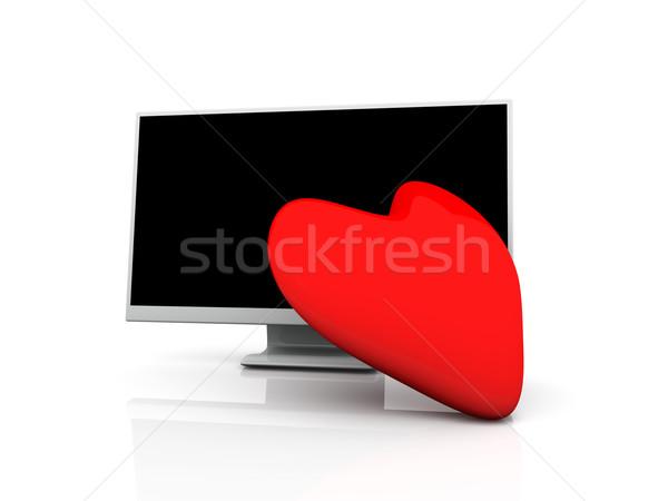 Exibir amor ilustração 3d coração televisão Foto stock © Spectral