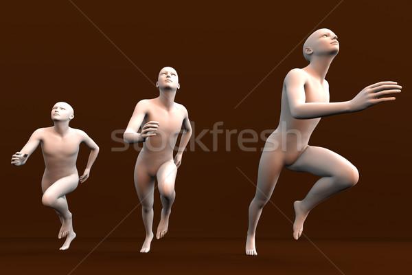 Бегуны три 3D оказанный иллюстрация Сток-фото © Spectral