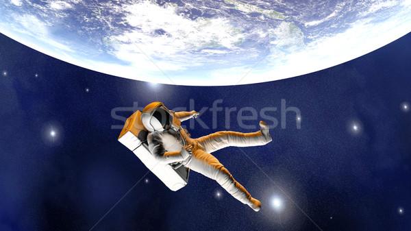 астронавт земле 3d иллюстрации небе мира Сток-фото © Spectral