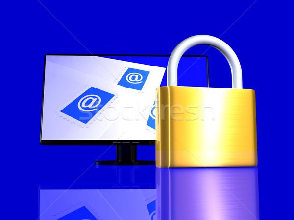 Proteger e-mail 3D prestados ilustração trancado Foto stock © Spectral