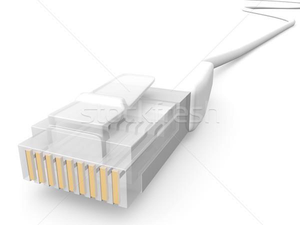 Fehér hálózat kábel 3D renderelt LAN Stock fotó © Spectral