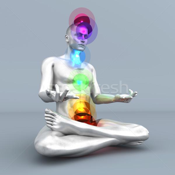чакра медитации женщину полный 3D Сток-фото © Spectral