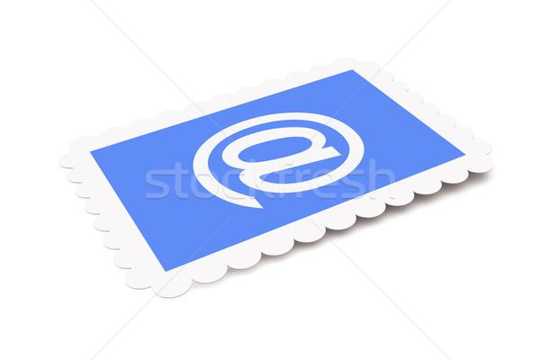 электронная почта почтовая марка 3d иллюстрации изолированный белый интернет Сток-фото © Spectral