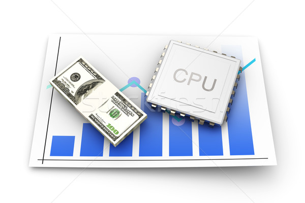 Cpu Leistung Wert 3D gerendert Illustration Stock foto © Spectral