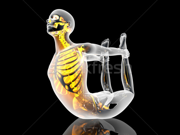 Jóga íj póz 3d illusztráció sport fitnessz Stock fotó © Spectral