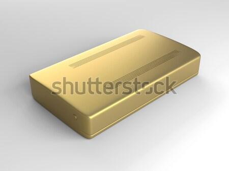 Gouden harde schijf 3D gerenderd illustratie technologie Stockfoto © Spectral