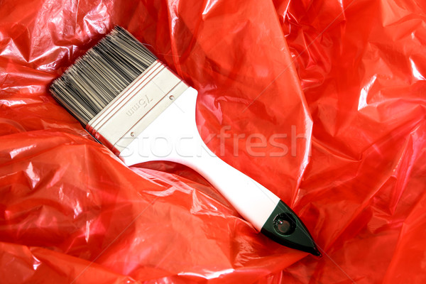 Paint Brush on red Foil	 Stock photo © Spectral