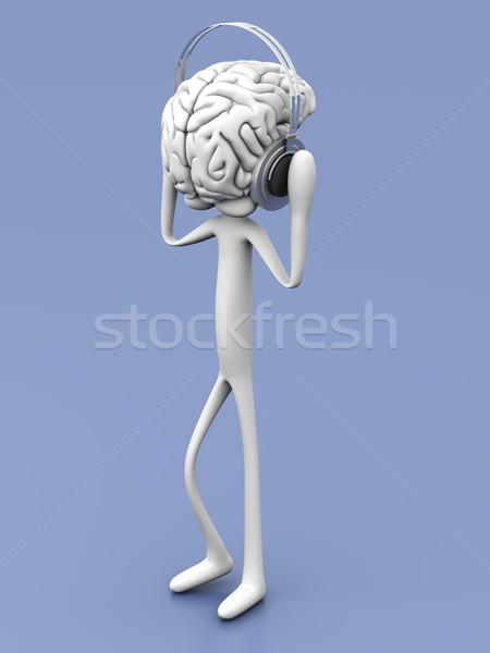 Akla müzik dinleme akıllı 3D render Stok fotoğraf © Spectral