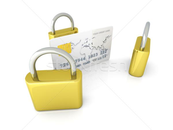 Güvenli kredi kartı 3D render örnek yalıtılmış Stok fotoğraf © Spectral