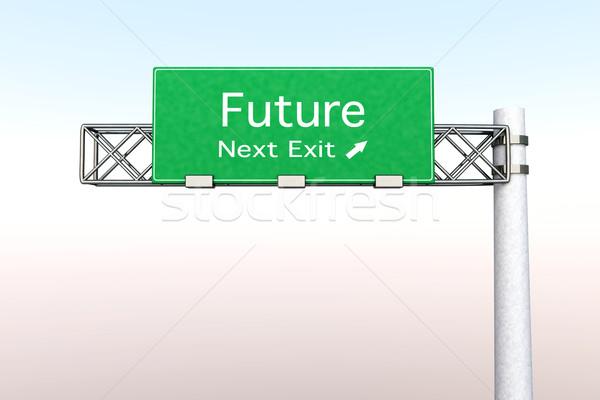 Autópálya tábla jövő 3D renderelt illusztráció következő Stock fotó © Spectral