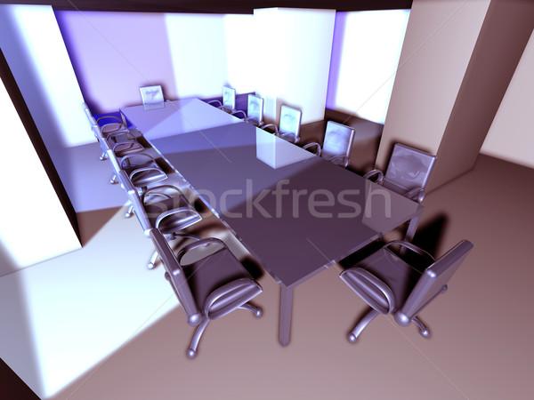 Fém tárgyalóterem 3D renderelt tárgyaló szürreális Stock fotó © Spectral