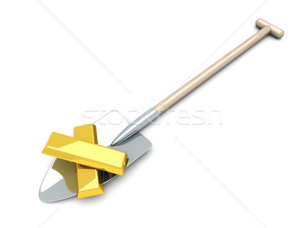 Arany bányászat 3D renderelt illusztráció izolált Stock fotó © Spectral