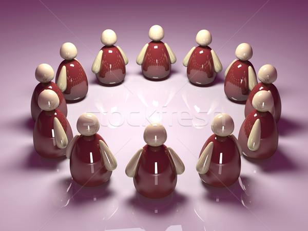 Ikon takım 3d illustration ikonik takım çalışması kalabalık Stok fotoğraf © Spectral